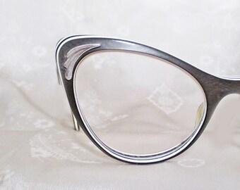 Vintage Cateye Glasses - 1950s Grey Cat Eyeglasses - Extreme Cateyes - 6 Layers Lucite Laminate