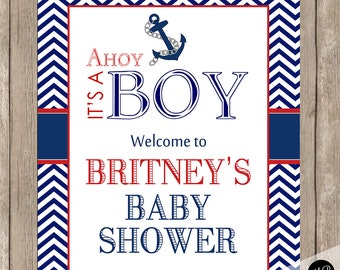 Nautical Baby Shower Welcome Sign, Personalized  Welcome Sign, Baby Shower Personalized Sign, Welcome Sign, 8x10 Sign