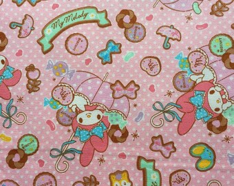 My melody fabric light Pink colour with white dots fabric Half yard