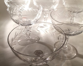 6 Crystal Champagne Coupes - Fostoria Holly