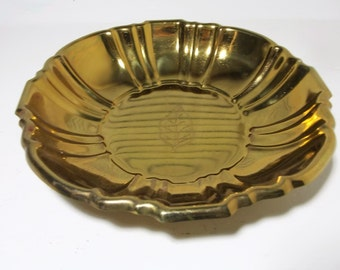 Vintage Brass Scalloped Edge Serving Bowl Dish