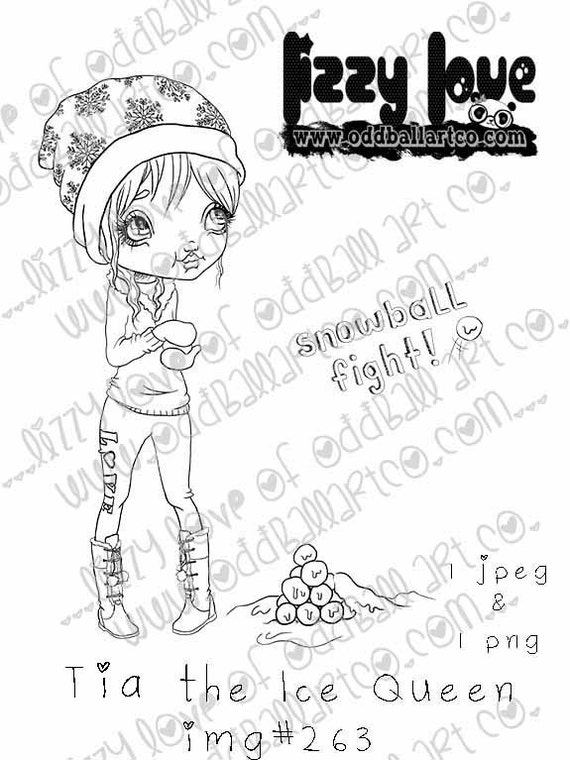 INSTANT DOWNLOAD Digi Stamp Includes Sentiment Kawaii Big Eye Girl in Winter Snowball Fight ~ Tia the Ice Queen Image No.263  by Lizzy Love