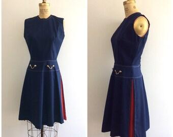 1960s Navy Blue Red Scooter Dress 60s Mod Nautical Cotton Dress