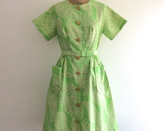 1950s 1960s Green Paisley Dress 50s 60s NOS NWT Penneys