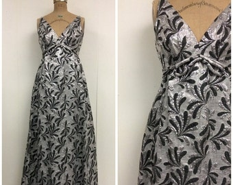 SALE 1960s Silver Gown 70s Maxi Dress
