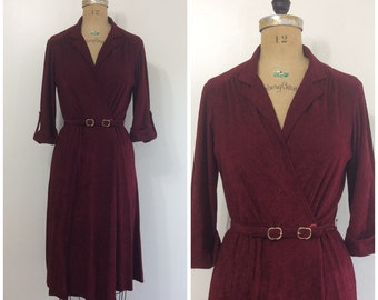 Vintage 1970s  Wrap Dress Terry Cloth 70s