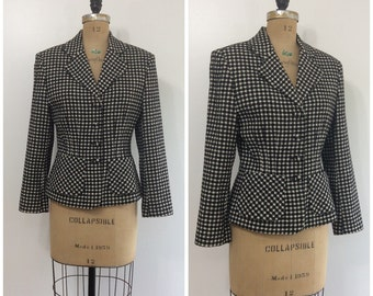Vintage 1980s Plaid Wool Benetton Blazer 80s Black and White Houndstooth