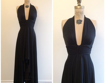 1970s Sexy Black Maxi Dress 70s Halter