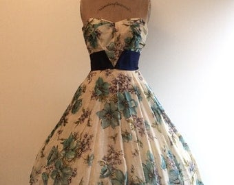 1950s Floral Party Dress 50s Strapless Flower Gown