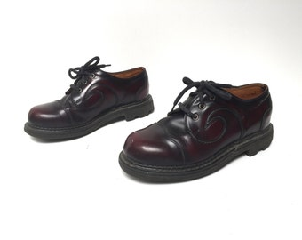 womens size 8 vintage DOC MARTENS style two tone brown leather PLATFORM grunge shoes