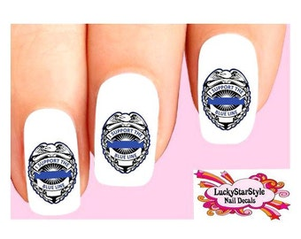 Waterslide Law Enforcement Nail Decals Set of 20 - I Support the Police Blue Line