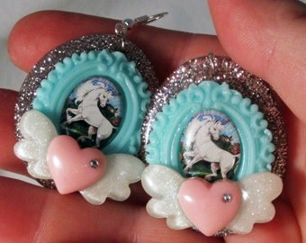 Lisa Frank Style Unicorn Cameo Earrings with Sparkly Winged Hearts