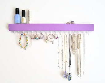 Jewelry Organizer - Wall - Jewelry Holder - Modern - Minimalist - Wood - Painted - Pick your color
