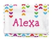 Lined Hearts Personalized Beach Towel | Kids Towels | Custom Camp Towels | Custom Printed Towel | Monogrammed Pool Towel