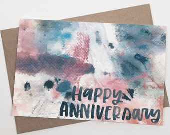Anniversary Cards, Happy Anniversary, Love Card, Abstract Art, Card for Him, Card for Her, Boyfriend, Girlfriend, Husband, Wife - No. 225-C