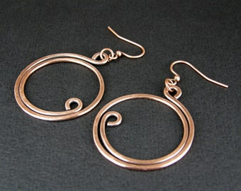 Copper Hoop Earrings, Hammered and Antiqued Copper Wire Earrings, Copper Hoops