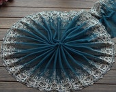 2 Yards Lace Trim Aulic Floral Embroidered Dark Green Tulle Lace 10.23 Inches Wide High Quality