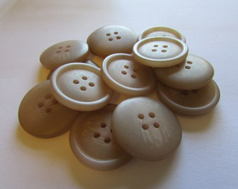 13 Tan 4 Hole Buttons (25mm), quantity 13 raised edge, smooth reversible