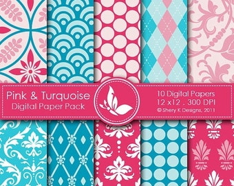 50% off Pink Turquoise Paper Pack - 10 Printable Scrapbooking Digital papers - 12 x12 - 300 DPI