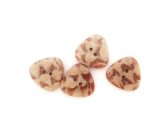 4 Caramel Brown Vintage Buttons, Triangle, Plastic, Flat