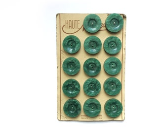 14 Green Buttons, Marbled, Antique, French, Button Card