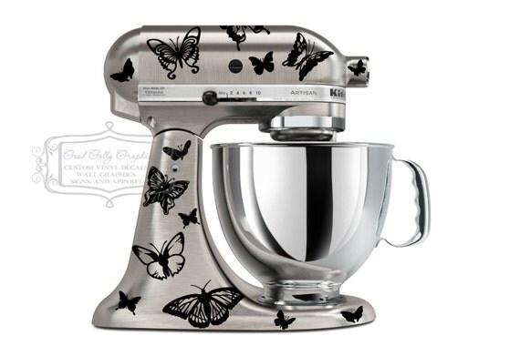 Kitchen Mixer Decals ~ Kitchen mixer vinyl decal set of butterflies piece