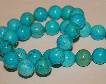 Half Strand 12mm Round Turquoise Magnesite Gemstone Beads - 14 beads