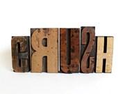 CRUSH Valentines Day Decor sign wood letters wooden letter blocks letterpress blocks printers block