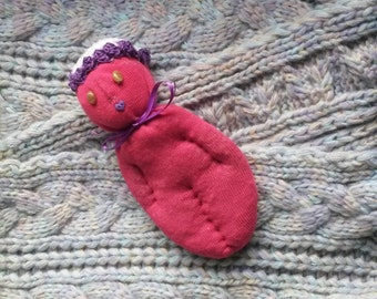 Red Sock Doll Stuffed With Real Lavender Brown Stone Eyes Purple Heart Mouth Purple Hat