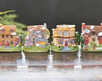 4 pcs   Resin House  Mininature Figurine/Terrarium Figurine