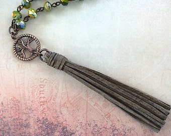 Olive Mustard Yellow Swirl Allure Crystal Bead / Olive Suede Tassel / Brass Tree Charm Necklace