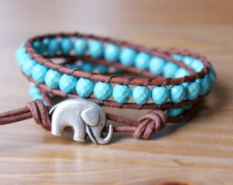 Blue Turquoise Magnesite Boho beaded leather wrap bracelet, double wrap, Good Luck charm, silver elephant, trendy boho hipster, gift for her
