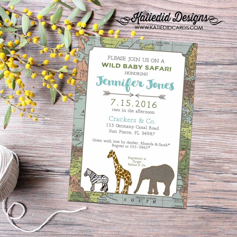 safari baby shower invitation boy world map rustic chic sprinkle