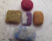 Scottish Felted Soap, Guest Soap, Travel Size Set of 5,  Bath Gift from Scotland