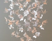 Butterfly Chandelier  Mobile, mostly solid butterflies, all white, girl room mobile,nursery mobile,baby girl mobile,baby