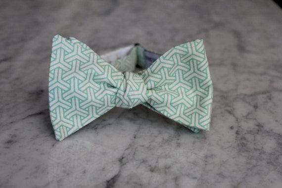 Soft Mint Green Geometric Y Bow Tie - Groomsmen and wedding tie - clip on, pre-tied with strap or self tying