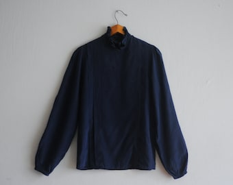 70's shirt: 100% silk blouse, dark indigo blue, edwardian inspired stand up ruffle collar, pleated chest, M size, chic style, office formal.