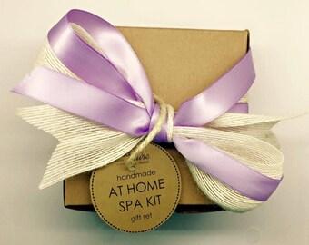 At Home Spa Kit : French Lavender, Coconut Milk Soap, Salt Bath Soak, Sea Sponge, Gift Set, Hostess, Mother's Day, Purple Theme, Lavender