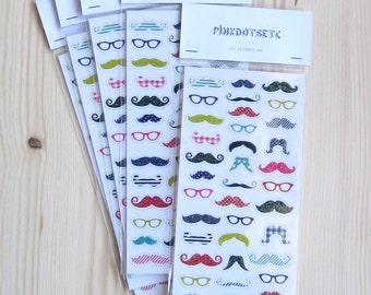 Set of 40 HipRetro Mustache Eyeglasses Adhesive Stickers, 40 Mustache Life Planner Stickers, 40 Stickers for Planner Addict and Scrapbooking