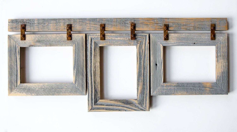 2 barnwood collage frame 3 8x10 multi opening frame rustic picture frames reclaimed cottage. Black Bedroom Furniture Sets. Home Design Ideas