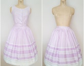 Vintage 1950s Skirt Set / Tank and Skirt / Lavender Stripes / XS