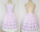 Vintage 1950s Skirt Set / Tank and Skirt / Lavender Stripes / XS