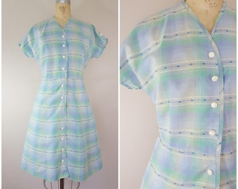 Vintage 1950s Dress / Pastel Plaid Cotton Dress / Medium Large