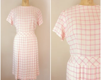 Vintage 1960s Dress / Pink and White Plaid / Pleated Skirt / Medium Large