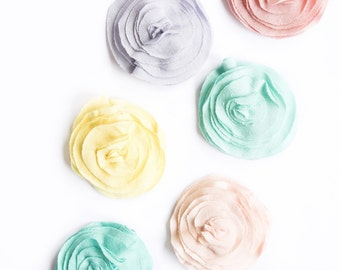 22 Colors || Set of 4 Flower Hair Clips Girls Baby Toddler Boho Layered Ruffled Flower Hair Bow Barrette Alligator Clip Jersey Soft Piece