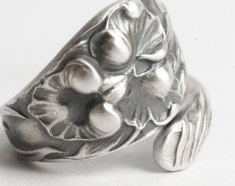 Orchid Ring, Vintage Floral Sterling Silver Spoon Ring, Art Nouveau Ring, Watson Orchid, Handmade Flower Ring, Adjustable Ring Size (6118)