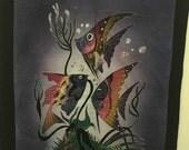Tropical Angel Fish Handmade Wall Hanging OOAK