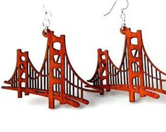 Golden Gate Bridge - Laser Cut Wood Earrings