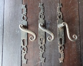 Vintage French metal door handles with plaques plates large one small key hole pair more available circa 1920's / English Shop