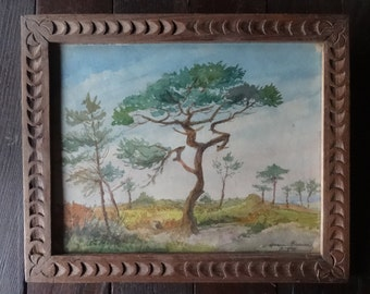 Vintage French Countryside Watercolour Painting Art Maxine BeseuierErguy circa 1920's / English Shop